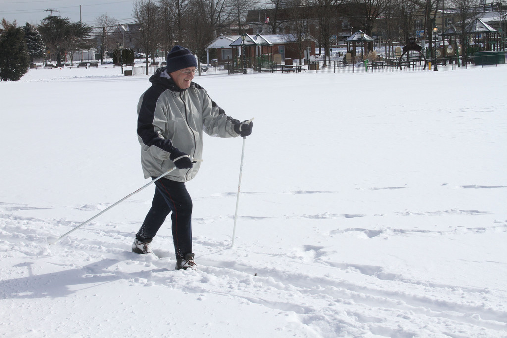 Valery Gesin skiied across Andrew J. Parise Cedarhurst Park Saturday morning after Nemo.