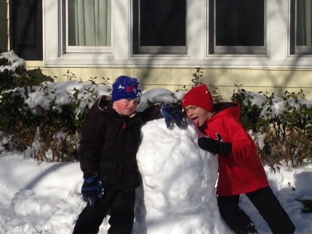 Will Barrett and Jude Condon worked on building a snowman.