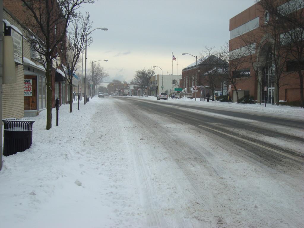 Merrick Road in Rockville Centre was cleared early in the day, but it was still quiet.