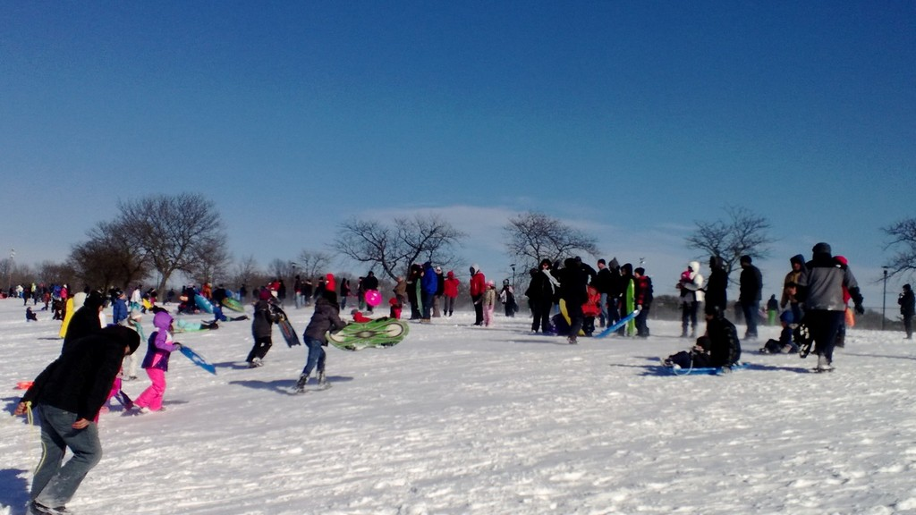 Hundreds of residents flocked to Eisenhower Park for a day of sledding.