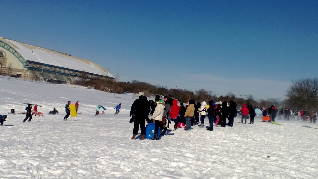 Sledders at Eisenhower Park on Saturday.