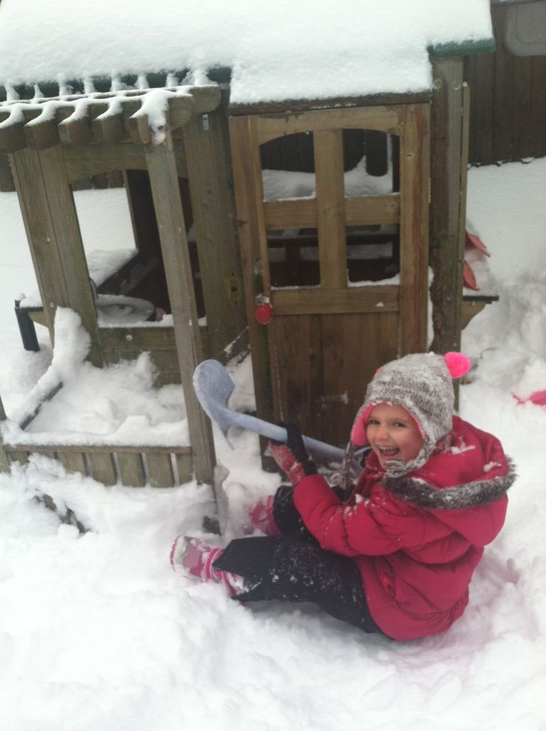 Hannah Wallach, 5, digs out her clubhouse in Gibson.