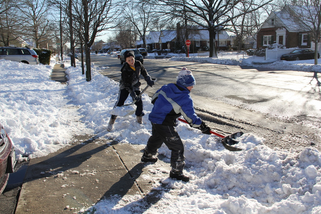 Friends, Matthew Proper and Garrett Scavelli, cleared the snow from this driveway on Scherer Blvd