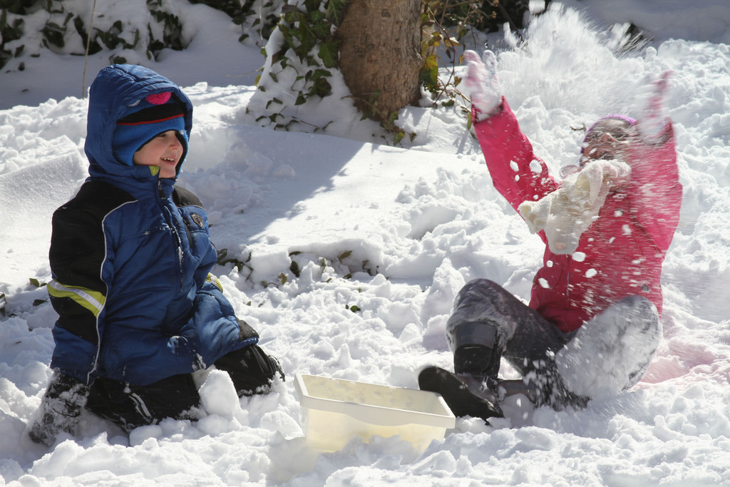Noah Freer and Brianna Sarno played in the snow in Cedarhurst.