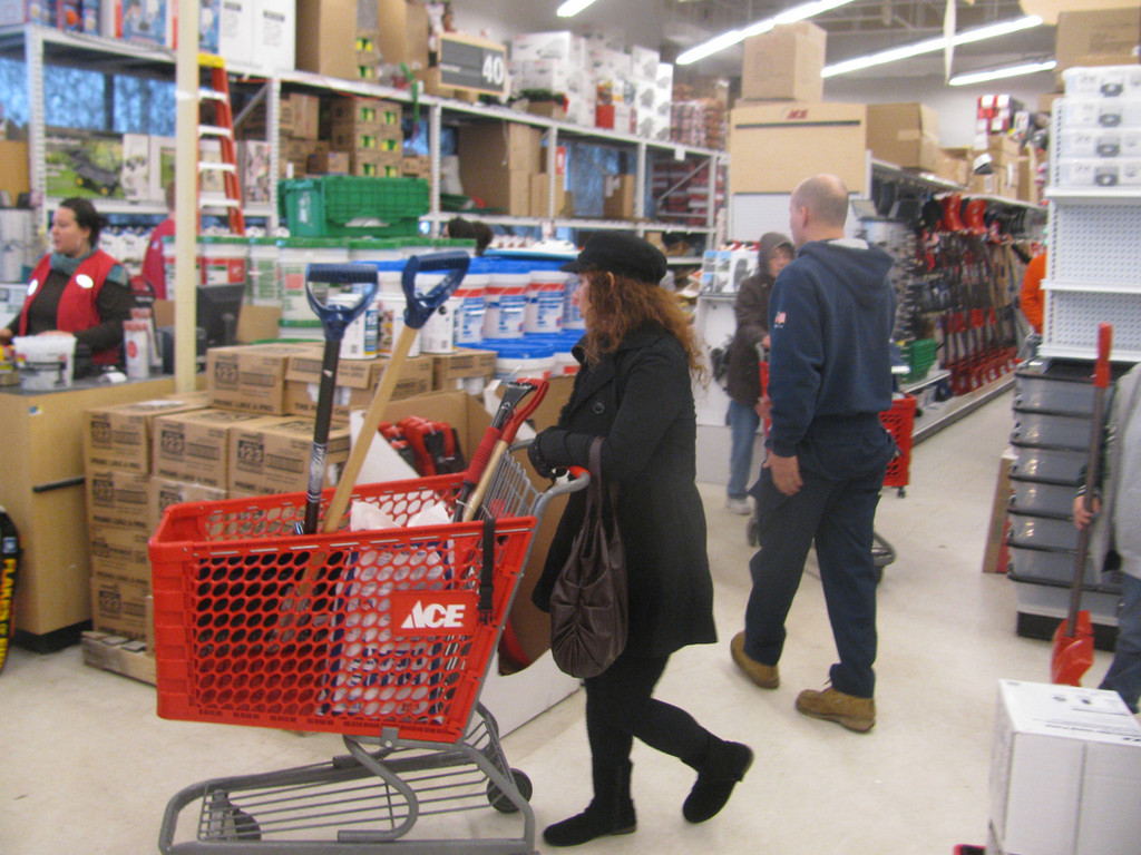 Shoppers were busy buying emergency supplies, from flashlights to 