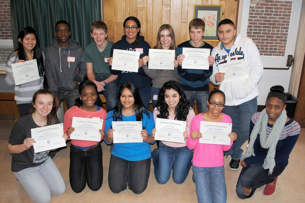 Waldorf students show off their certificates after the 4th annual Erase Racism Student Leadership Forum.