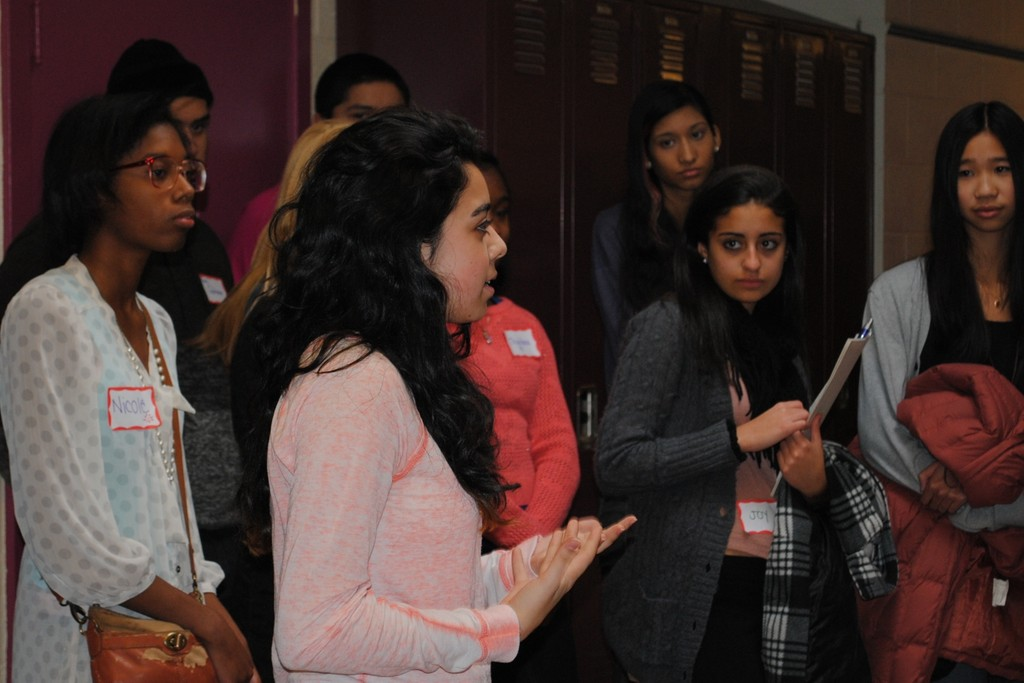 More than 50 students from 10 Long Island school districts attended. Left, Waldorf junior Gabriela Gallo shares her thoughts.