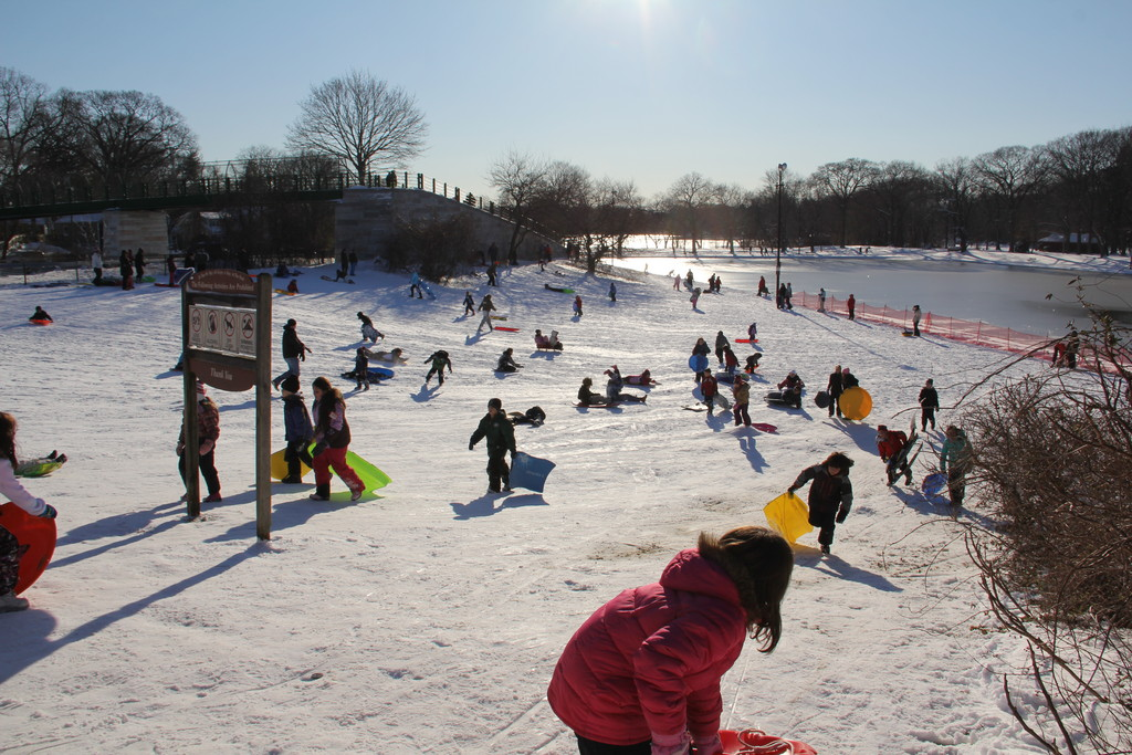 Families took advantage of the snow on the weekend and flocked to Hempstead Lake State Park for some sledding.