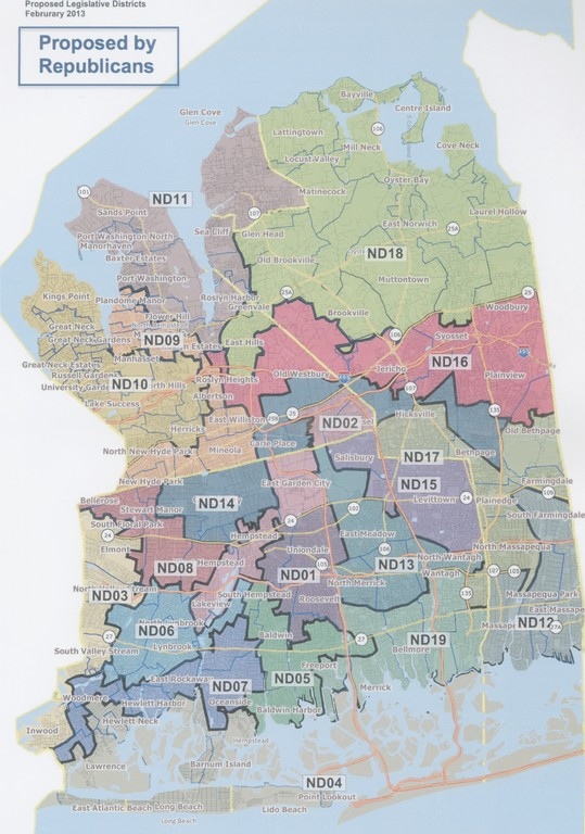 This redistricting plan by the Nassau County Legislature's Republican majority will move ahead for a vote by the full Legislature on Feb. 25.