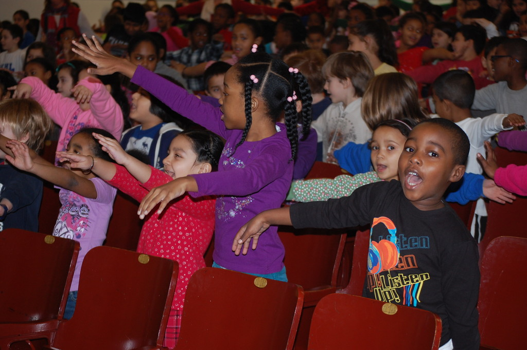 Wheeler Avenue School students did some exercises in their seats to learn how they could stay fit and healthy.