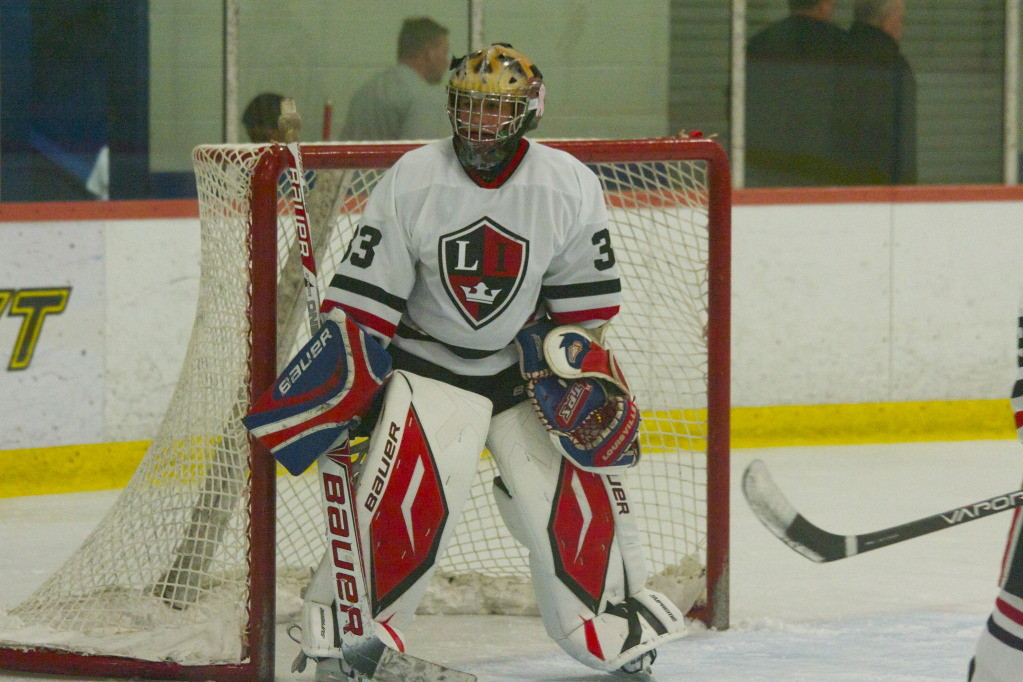 Max Rovner donates money for each save, win and shutout during his games as goalie for the Long Island Royals ice hockey team.