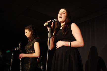 Sarah Gebbia, left, provided a clarinet accompaniment to Chelsea Campanile�s vocal rendition of �Le Festin� at Lynbrook High School�s Cabaret Night.