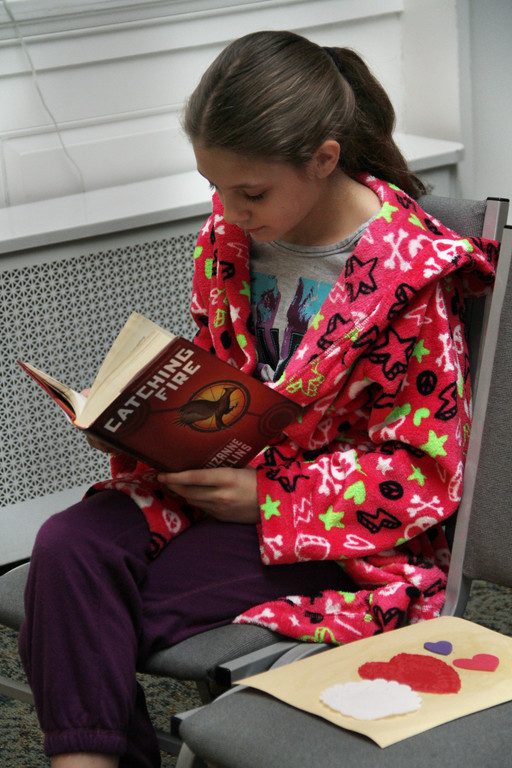 Maddy Colonna caught up on some quiet reading time.