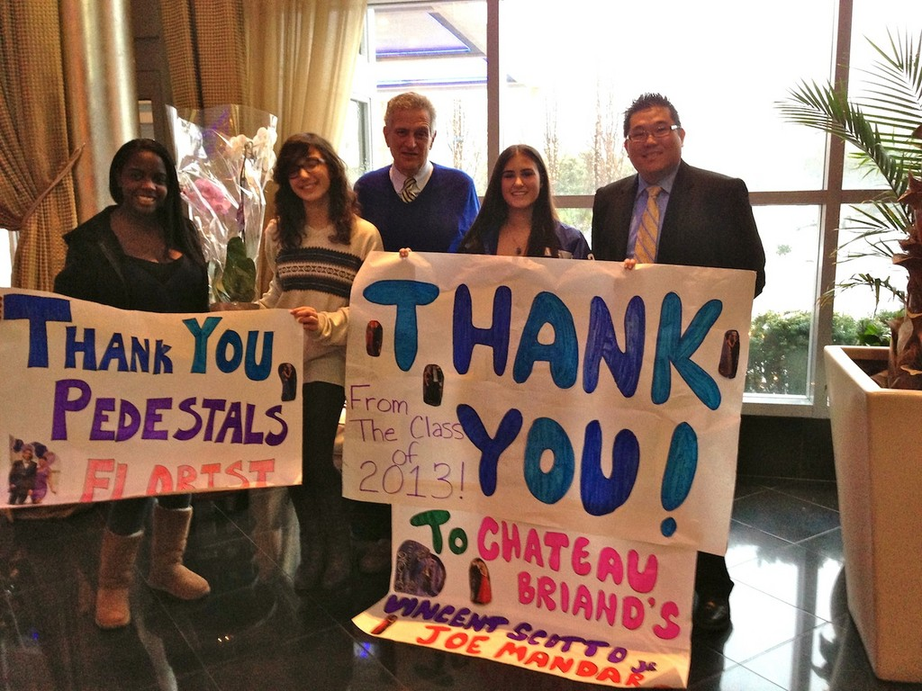 Long Beach High School Prom Committee members took a special trip to Chateau Briand to thank the catering facility for donating the reception and flowers for their prom. Pictured from left are Andrea Wilkins, Natalie Simonelli, Joe Mandaro, Elyse Stark and Victor Scotto Jr.