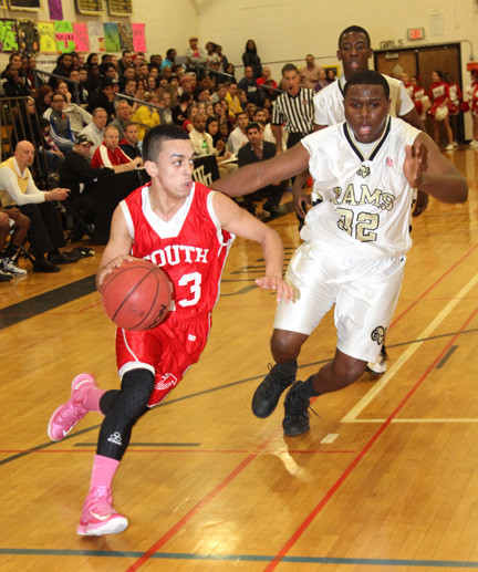 Valley Stream South's William Knight, left, who had 22 points, drives against West Hempstead's Darren Davy during last Friday's playoff game.