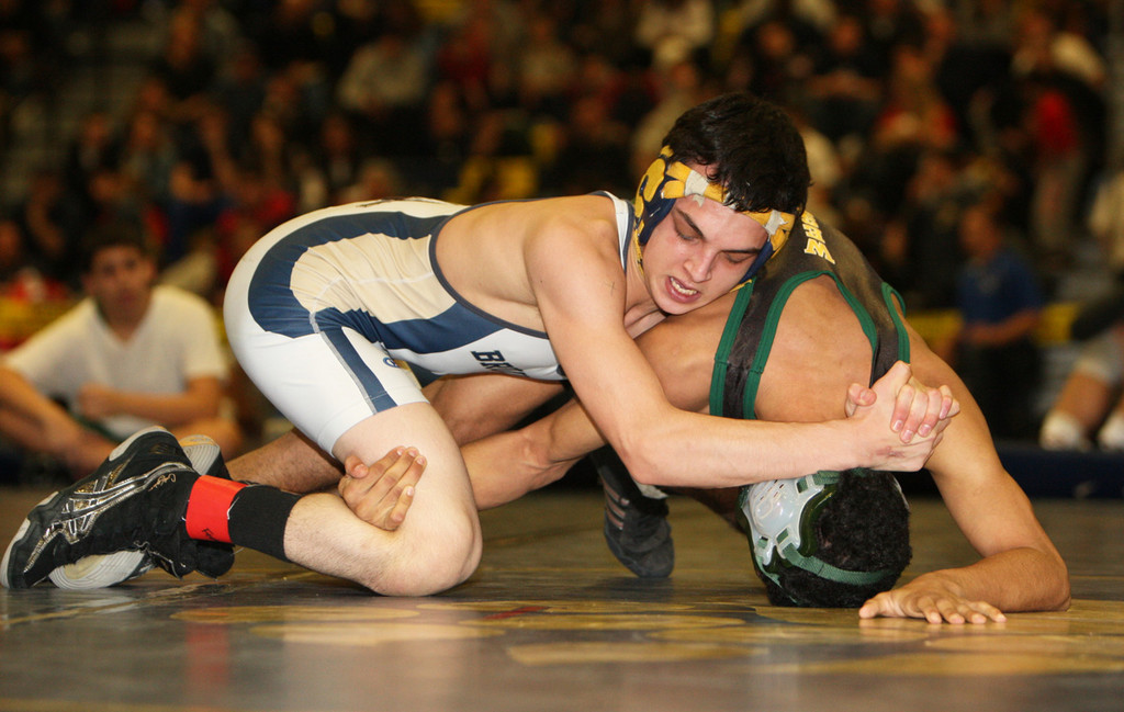 Baldwin's Sal Trigona, top, won a qualifying tournament championship and reached the Nassau semifinals in the 113-pound weight class.