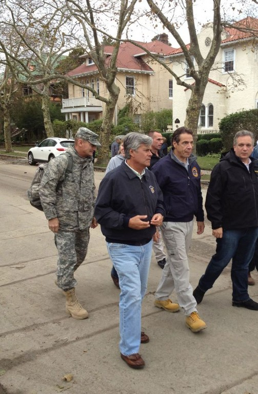 Sen. Dean Skelos toured heavily damaged Long Beach after Sandy with Gov. Andrew Cuomo and Nassau County Executive Edward Mangano.