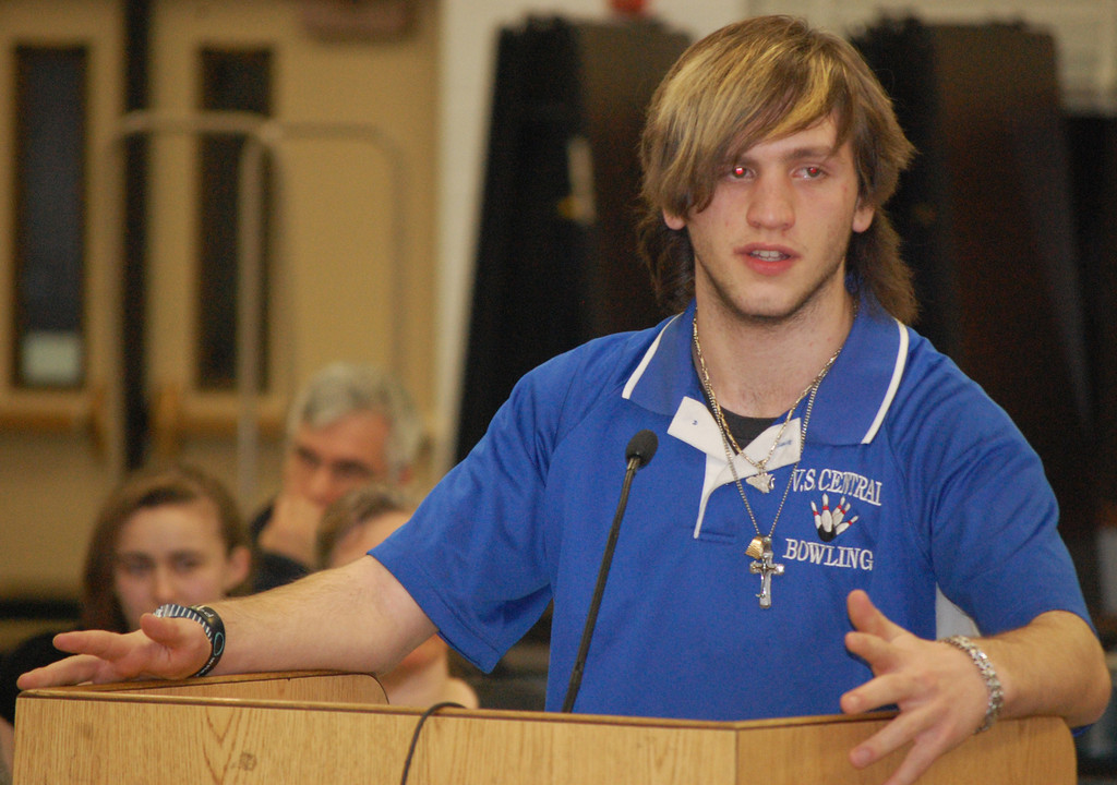 Central High School junior Chris Messina spoke in favor of keeping the district's bowling teams.