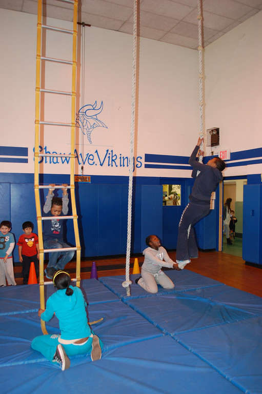 Climbing Ropes and ladders is part of a gymnastics unit in phys. ed. classes at Shaw Avenue School that students look forward to every year.
