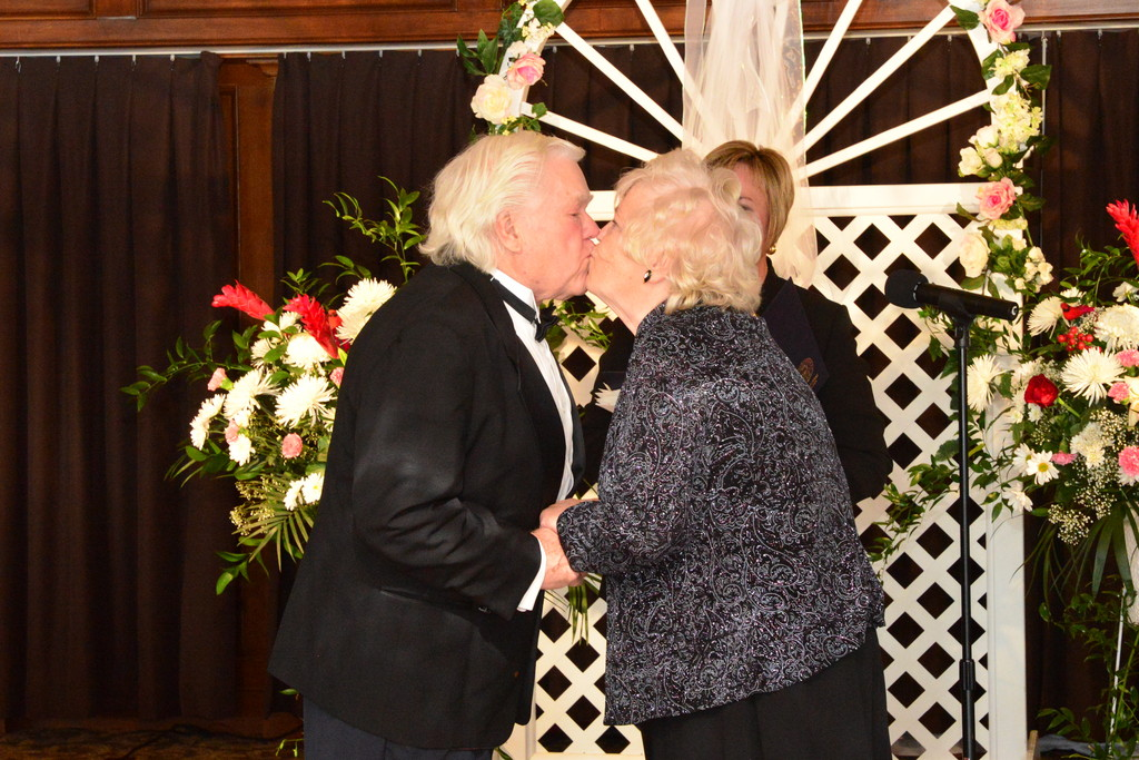 Meadowmere Park residents Edward and Ruth Samuelson show their affection after renewing their 