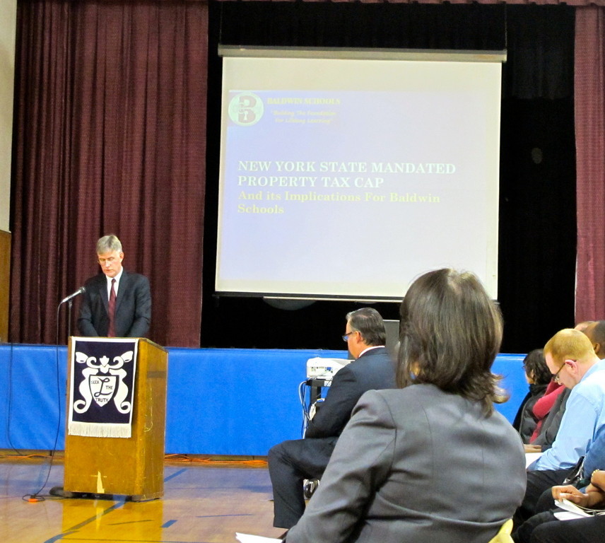 Ed Cullen, assistant superintendent for business, narrated a budget presentation earlier this year.