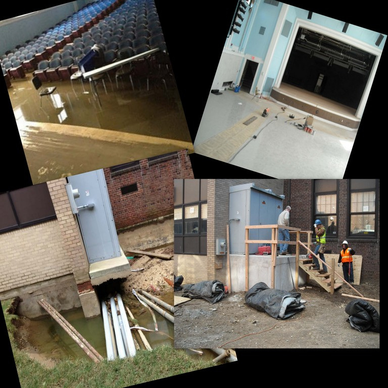 At top, the auditorium stage: a new stage floor was installed — one of many projects being done in the auditorium.  