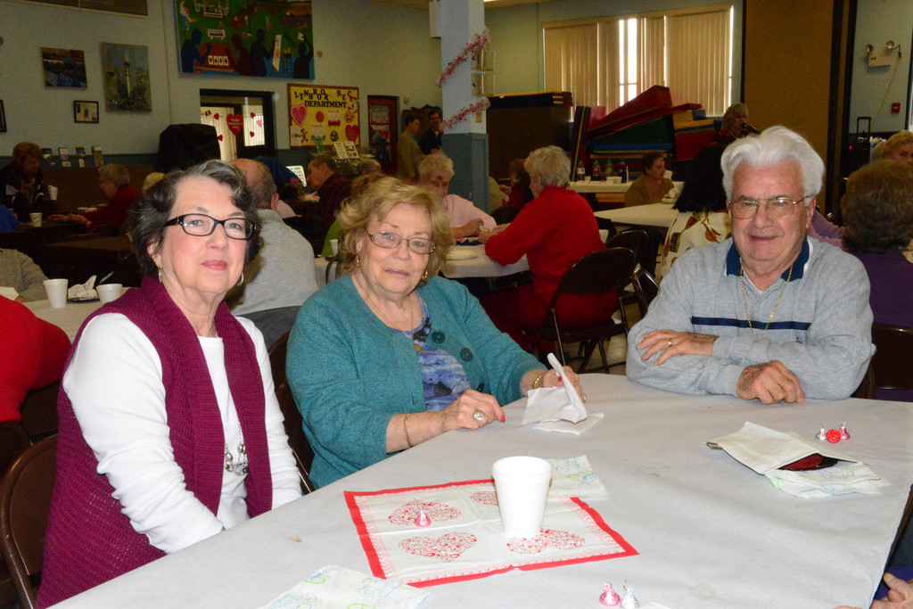 Friends Phyliss Bouchard, Anna Zajac and Joseph Guerrera socialized at the Greis Park Senior Center for the Valentine�s Day luncheon.