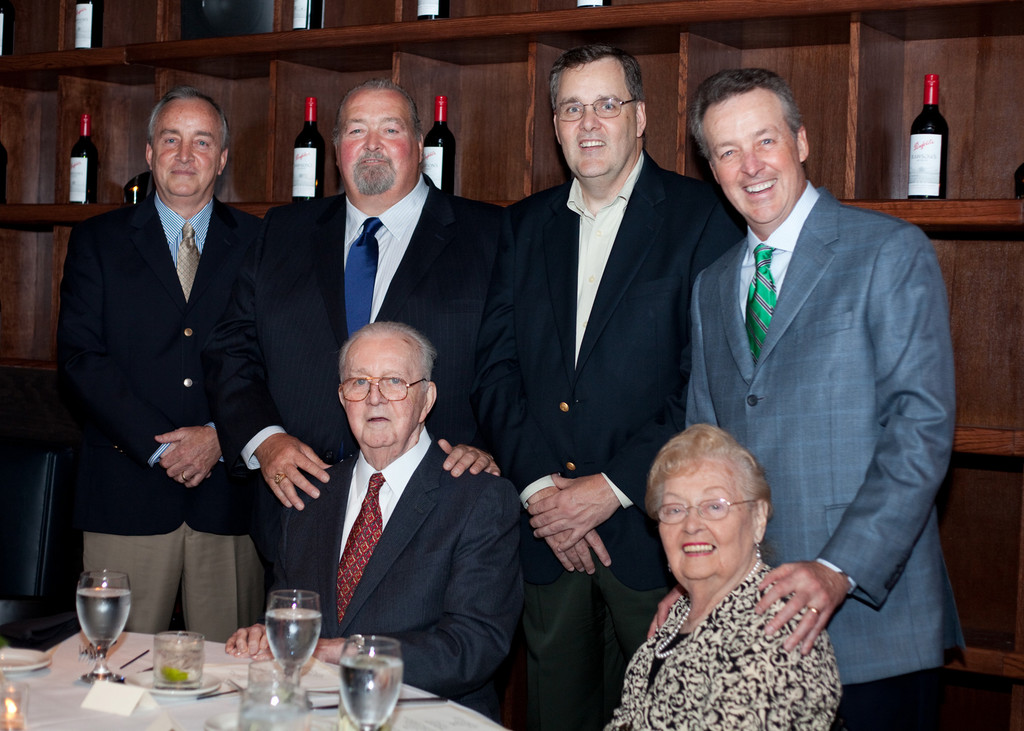 The hardings at a family gathering in 2010. Pictured with their parents, Art and Helen, were Glenn, Tom, Ken and Art.