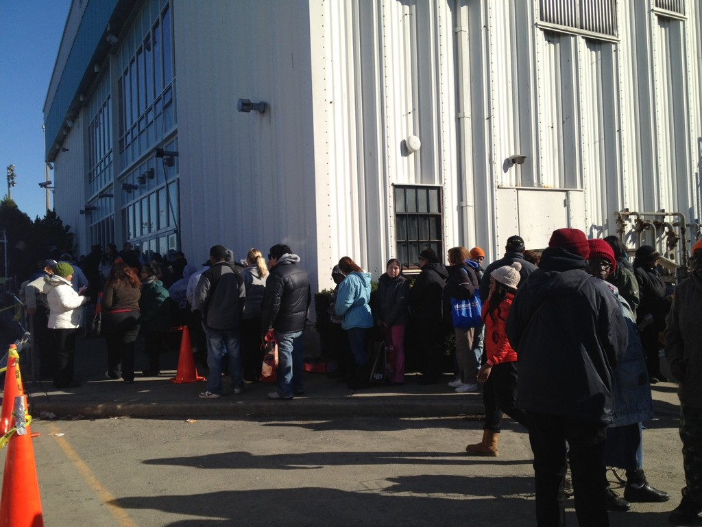 Days after the storm, people lined up outside the FEMA distribution center at the Long Beach Ice Arena.