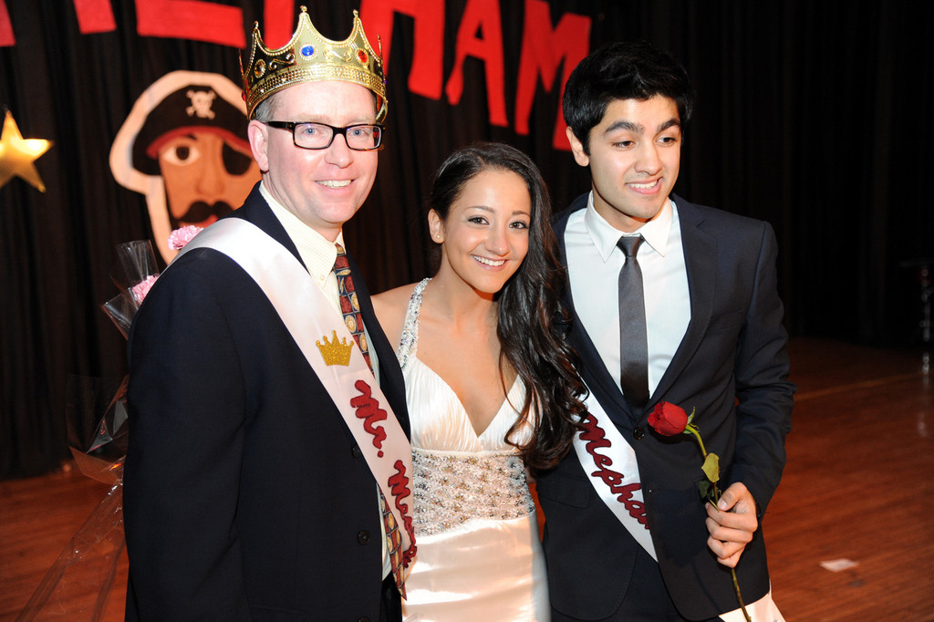 "The winners of the 2013 ""Mr. Mepham"" pageant, Rob Walsh, left, and Ryan Chand were joined by one of the evening's hosts, Elyssa Gershman, center."
