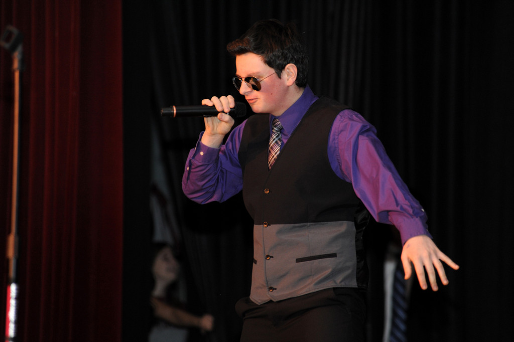Student Kevin Burns sang during the talent portion of the pageant.