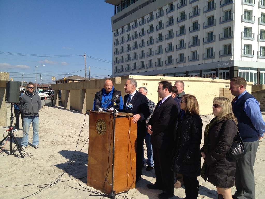 Sen. Charles Schumer and city officials held a press conference at National Boulevard, where they called on FEMA to provide funding for a storm-resistant boardwalk.