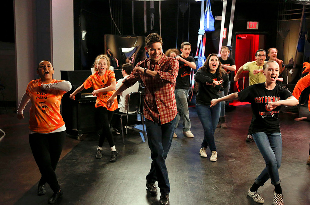 �Smash� actor Jeremy Jordan joined East Rockaway High School students for a dance number during production of a series of commercials filmed at their school.
