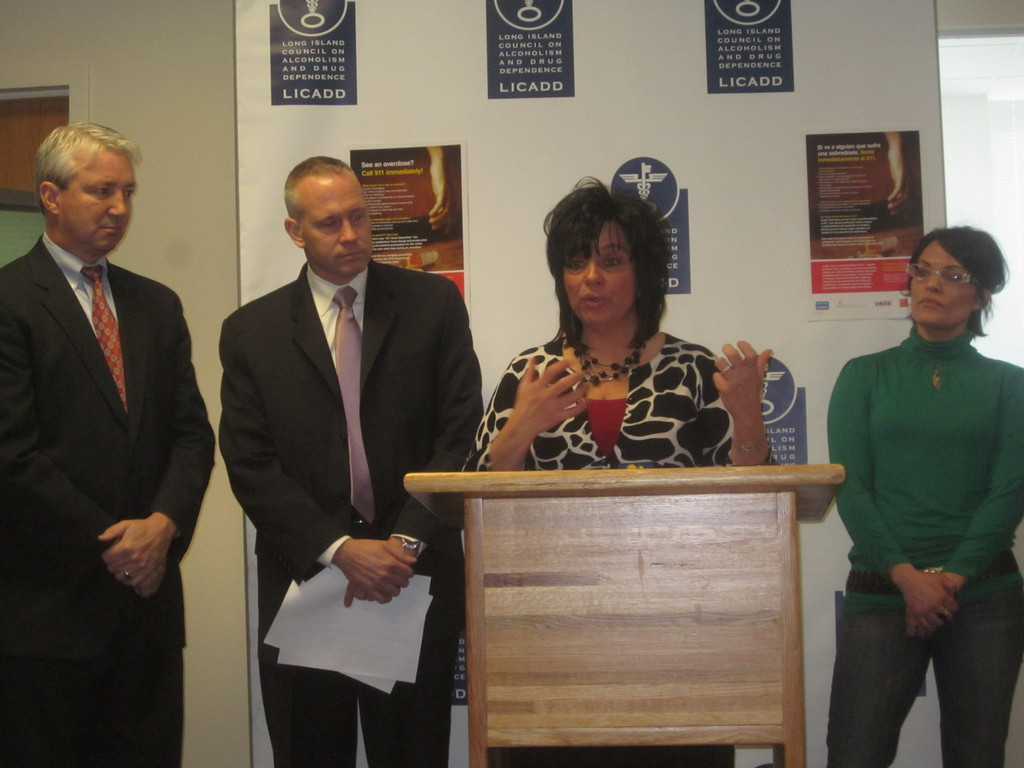 Linda Mangano, at lectern, the wife of Nassau County Executive Ed Mangano, joined by Dr. Jeff Reynolds, second from left, executive director of Long Island Council of Alcoholism and Drug Dependence, promoted Narcan training programs.