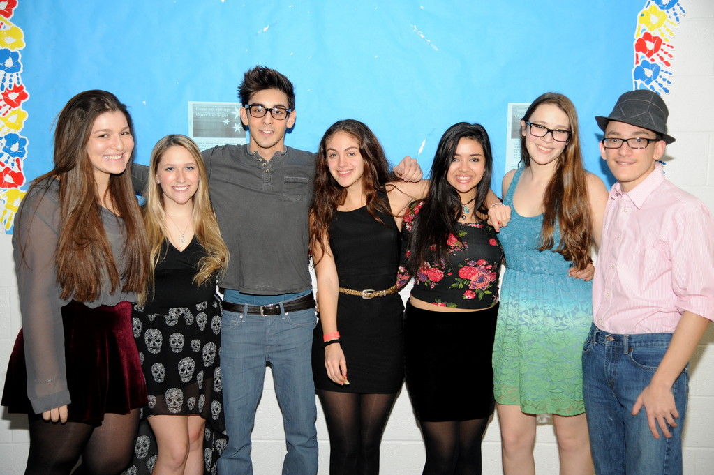 Hewlett High School students held an Open Mic night at the middle school. From left event organizers Open Mic night organizers Lauren Altus, Melody McAlister, Matt Kevelson, Tara Cohen, Kayla Epstein, Chiara Ostrin and Adam Lipke.
