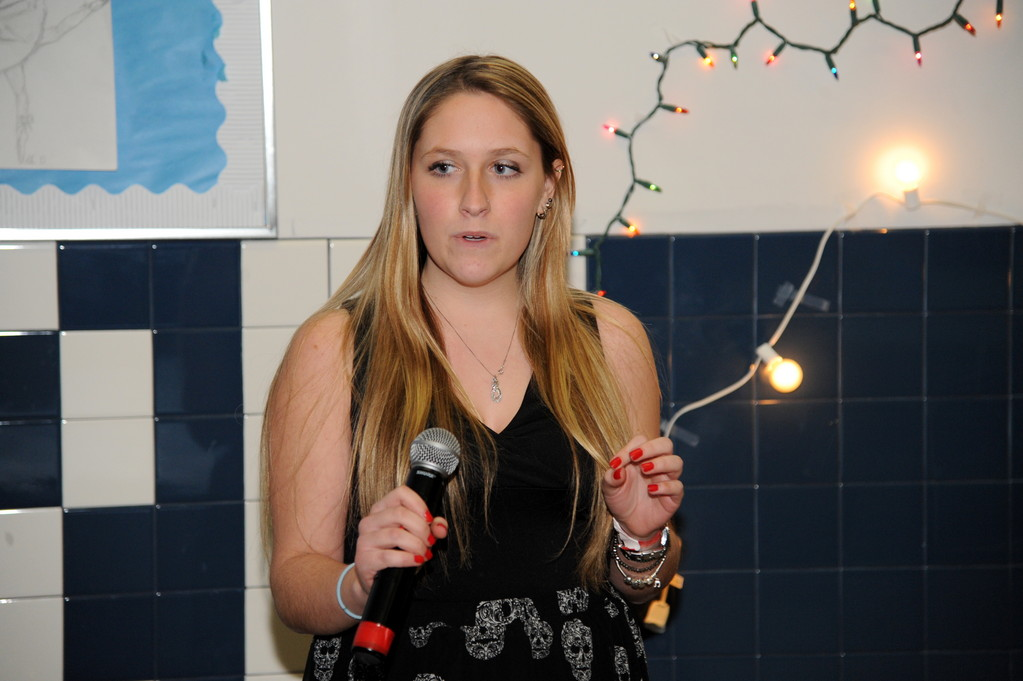 Open Mic night provided a forum for students to perform. Melody McAllister sang.