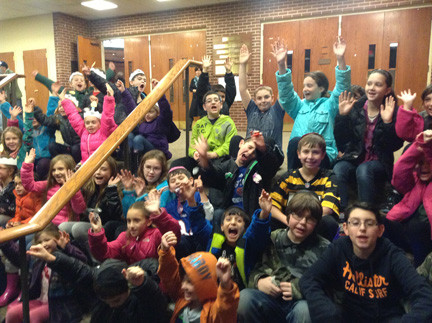 Ohav Sholom Hebrew School children celebrating Hanukkah in 2012.