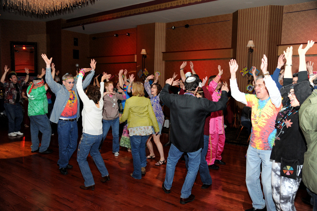 Congregants danced the night away to '60s music during the East Meadow Jewish Center's pre-Purim Masquerade.