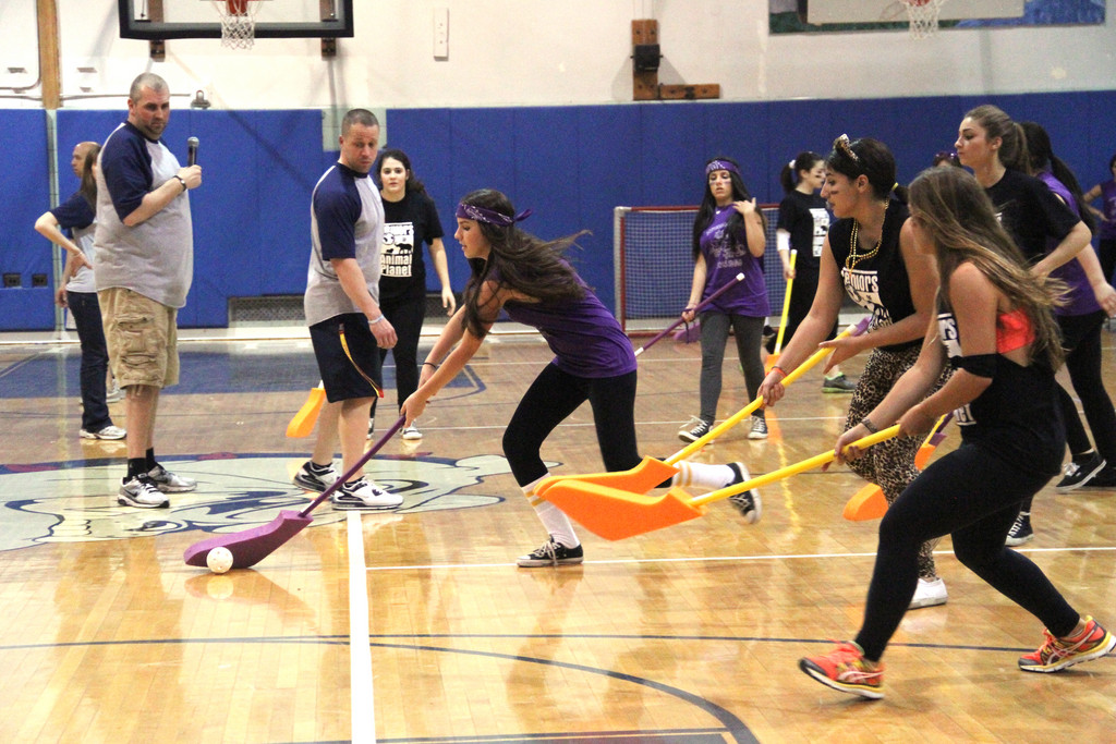 Floor hockey wasn't as easy at it looks as the girls in the senior and sophomore classes found out.