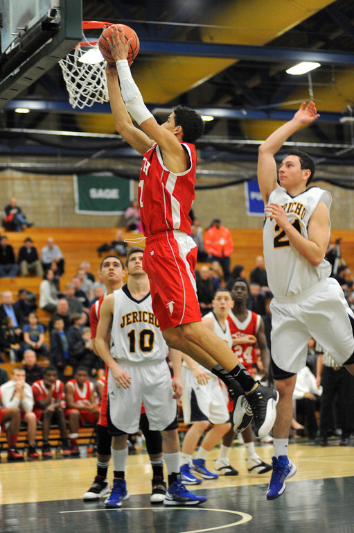 Valley Stream South's Diego Maldonado hits a fourth-quarter layup in the Falcons' Class A semifinal playoff loss to Jericho.