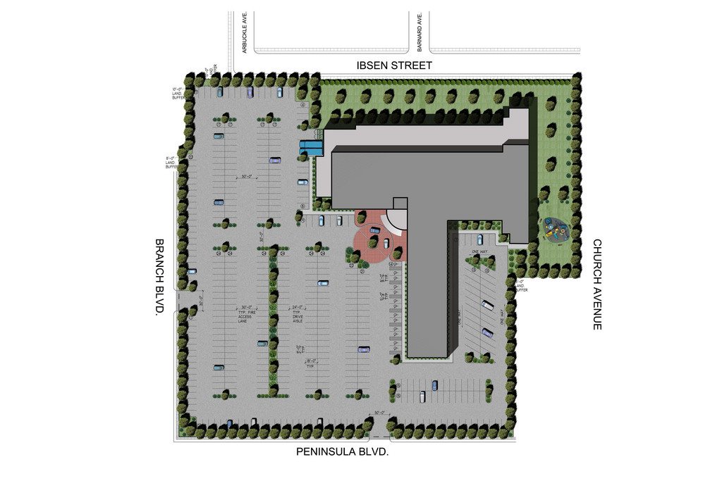 The proposed medical center site plan shows where the existing playground would be relocated (arrow), along with the planned parking lot and landscaping.