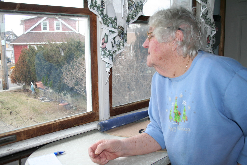 Meadowmere Park resident Gloria Greiner-Furscht looked out her front window, but there's been little activity to watch as many of the area's residents haven't returned since Hurricane Sandy.