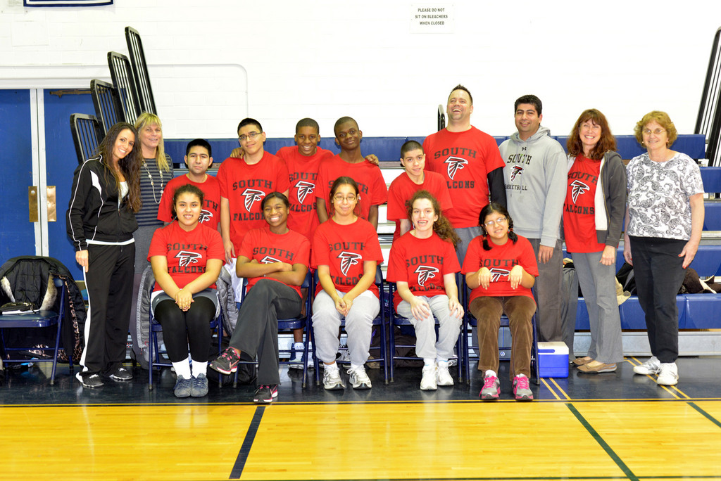 Players and Coaches of the South High School Challenger Basketball Program.