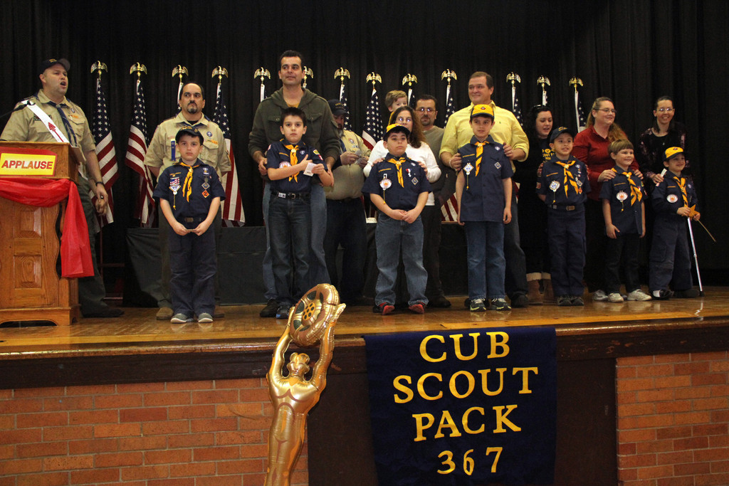 Wolf scouts earned their advancements at the March 2 Blue and Gold dinner.