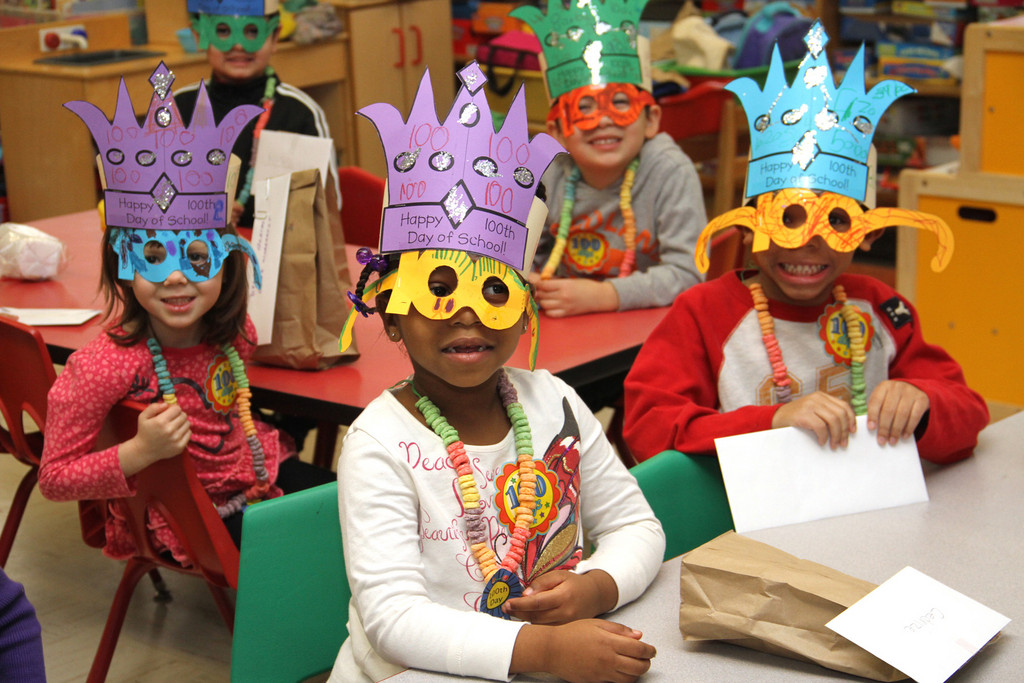Kindergarten students at the Robert W. Carbonaro School were excited for the 100th day of school on Feb. 27.