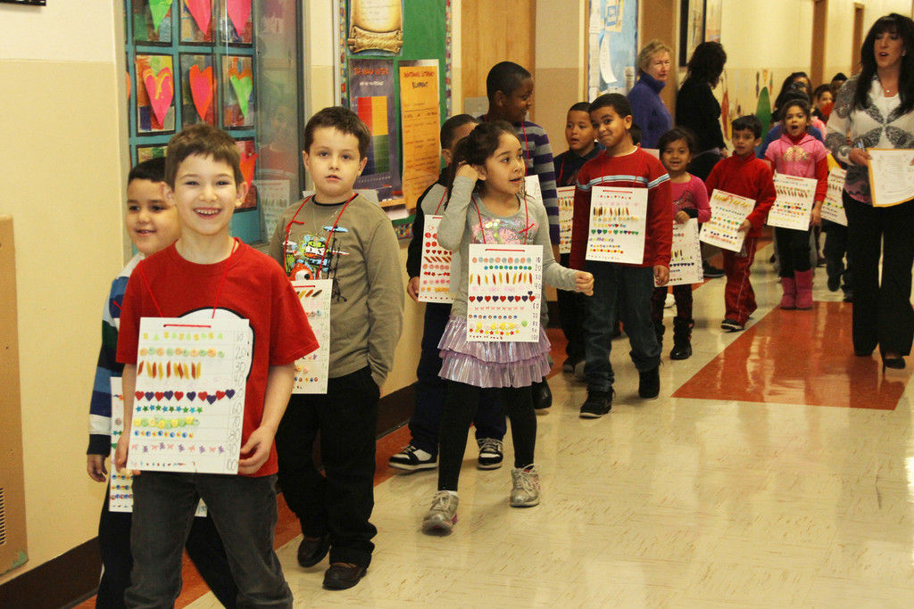 Students at the Robert W. Carbonaro School marched in the 100-day parade on Feb. 27.