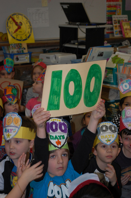 Kyle Bove, a kindergartner at the James A. Dever School, took part in the 100-day festivities.