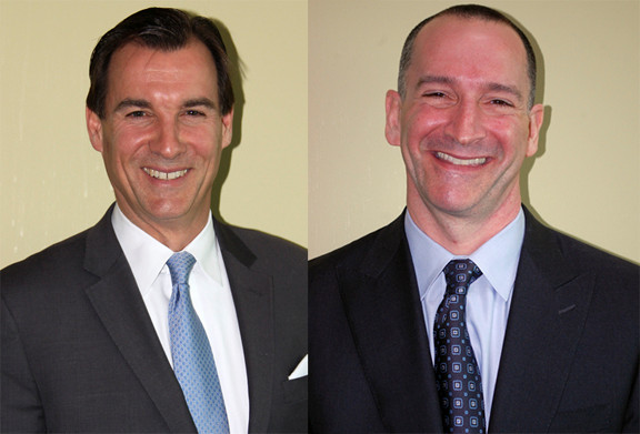 Tom Suozzi, left, and Adam Haber squared off in a half-hour News12 debate Tuesday night before the Sept. 10 Democratic Primary election for Nassau County executive.