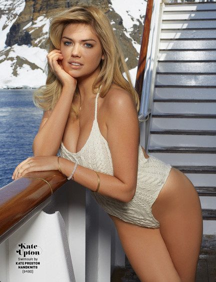 Model Kate Upton was photographed by Derek Kettela in Antarctica wearing Rockville Centre resident Katie Preston's hand-knitted swimsuit.