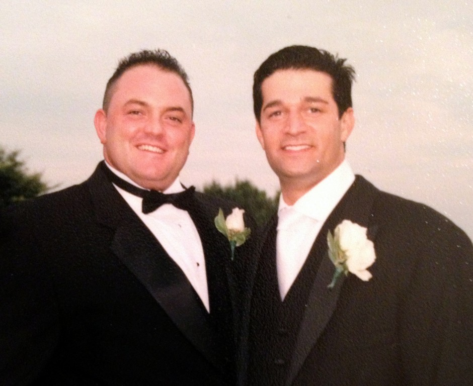 Brian Ciampi, left, with good friend Adam Berkowitz, who eulogized Ciampi at Perry Funeral Home last week.